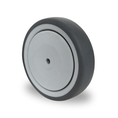 Grey TPR Tyre with Polypropylene Centre, Wheel, Ball Bearing