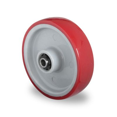 Red Polyurethane Tyre with Grey Nylon Centre, Wheel, Stainless Roller Bearing
