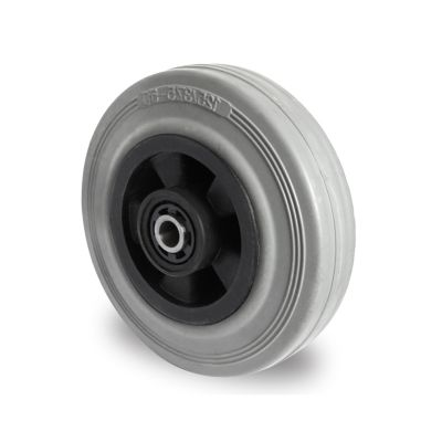 Grey Solid Rubber Tyre with Black Polypropylene Centre, Wheel, Roller Bearing