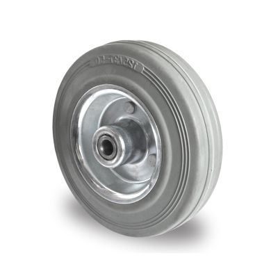 Grey Non-Marking Rubber Tyre with Steel Centre, Wheel, Roller Bearing