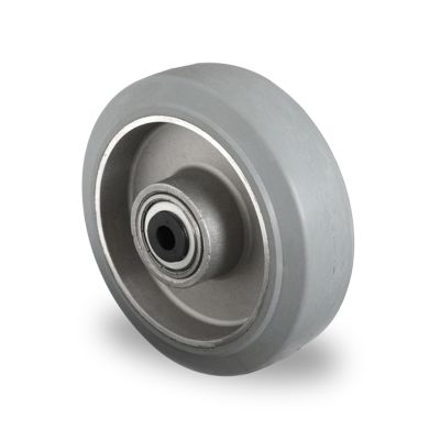 Grey Elastic Rubber Tyre with Aluminium Centre, Wheel, Ball Bearing