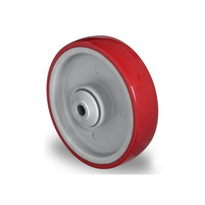 Red Polyurethane Tyre with Grey Nylon Centre, Wheel, Ball Bearing