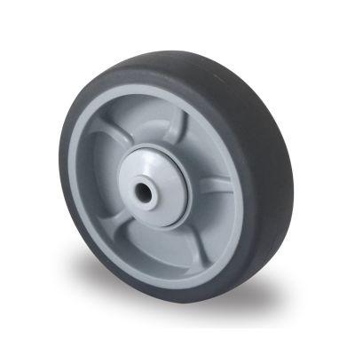 Soft grey TPR Tyre, Polypropylene centre, Ball Bearing