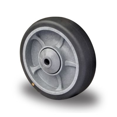 Soft grey TPR Anti-Static Tyre, Polypropylene centre, Ball Bearing