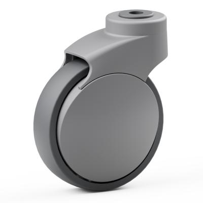 Full Nylon Body Castor, with grey ANTI-STATIC TPR Tyre Bonded to Plastic Centre, Swivel Bolt Hole Castor