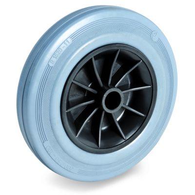 Non-Marking Rubber Tyre with Black Polypropylene Centre, Wheel, Plain Bore