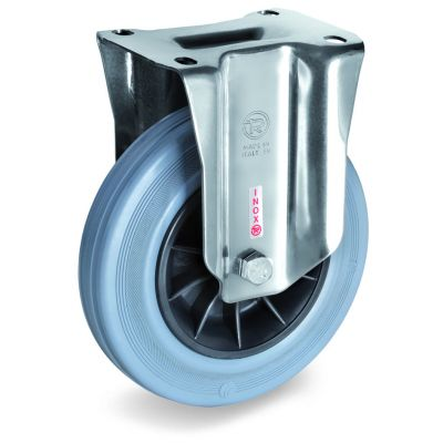 Non-Marking Rubber Tyre with Black Polypropylene Centre,Stainless Steel Fixed Top Plate Castor, NLX Duty