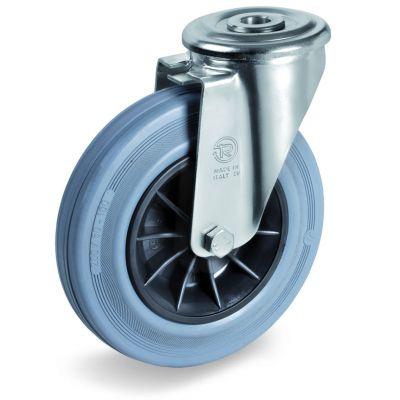 Non-Marking Rubber Tyre with Black Polypropylene Centre, Bolt Hole Castor, NL Duty