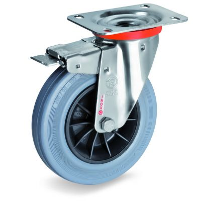 Non-Marking Rubber Tyre with Black Polypropylene Centre, Stainless Steel Swivel Top Plate Castor with Brake, NLX Duty