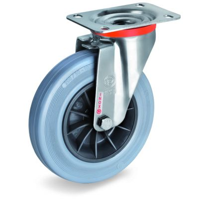 Non-Marking Rubber Tyre with Black Polypropylene Centre, Stainless Steel Swivel Top Plate Castor, NLX Duty