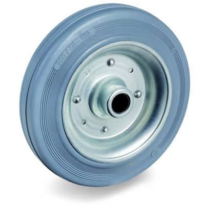 Non-Marking Rubber Tyre with Pressed Steel Centre, Wheel, Plain Bore