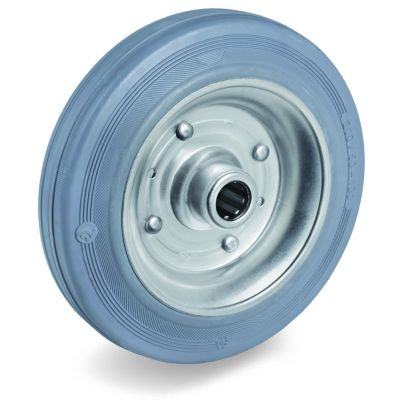 Non-Marking Rubber Tyre with Pressed Steel Centre, Wheel, Roller Bearing