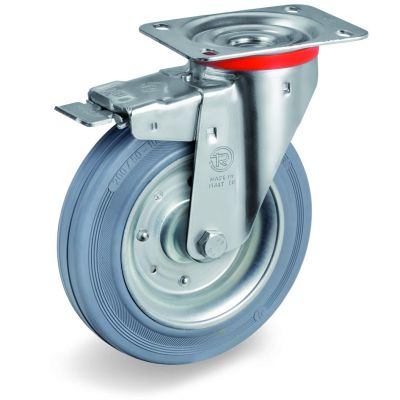 Non-Marking Rubber Tyre with Pressed Steel Centre, Swivel Top Plate Castor with Brake, NL Duty