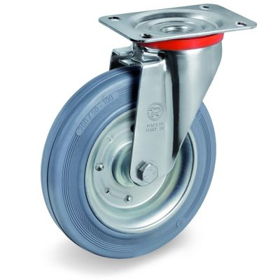 Non-Marking Rubber Tyre with Pressed Steel Centre, Swivel Top Plate Castor, NL Duty