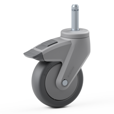 Full Nylon Body Castor, with grey TPR Tyre Bonded to Plastic Centre, Swivel Bolt Hole Castor, with Solid Stem, with a brake