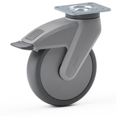 Full Nylon Body Castor, with grey TPR Tyre Bonded to Platic Centre, Swivel Top Plate Castor with a brake