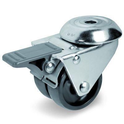 Black Polyamide 6 Wheel, Twin Wheel Swivel Bolt Hole Castor with Trailing/Front Brake, Light Duty