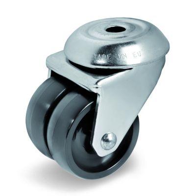Black Polyamide 6 Wheel, Twin Wheel Bolt Hole Castor, Light Duty