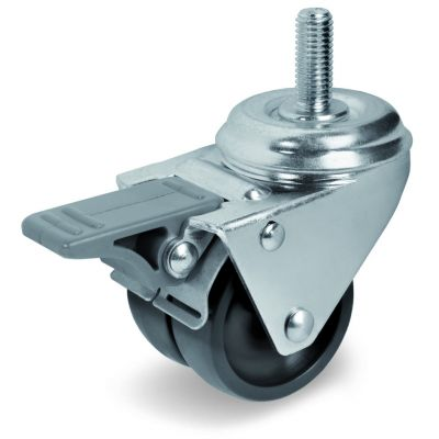 Black Polyamide 6 Wheel, Twin Wheel Swivel Bolt Hole Castor with Trailing/Front Brake and Threaded Stem, Light Duty