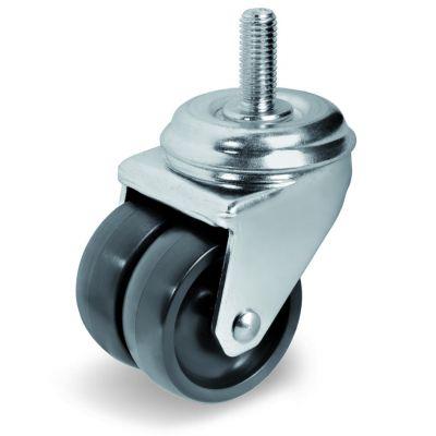 Black Polyamide 6 Wheel, Twin Wheel Bolt Hole Castor with Threaded Stem, Light Duty