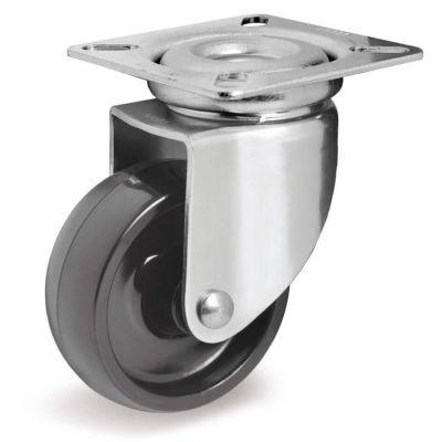 Black Polyamide 6 Wheel, Swivel Top Plate Castor, Light Duty