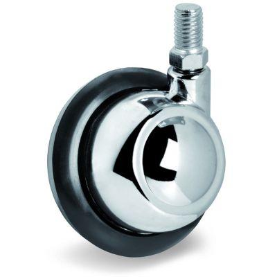 Rubber Half-Ball Wheel, Bolt Hole Castor with Threaded Stem, Left Hand Bolt Hole
