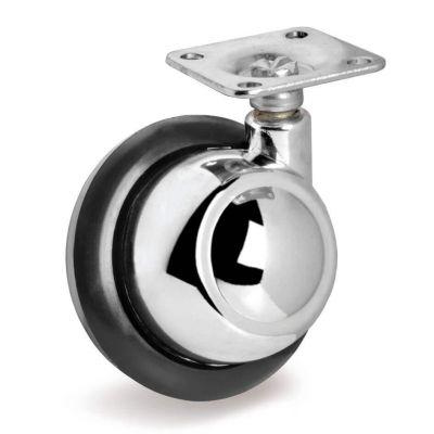 Rubber Half-Ball Wheel, Top Plate Castor, Right Hand Swivel
