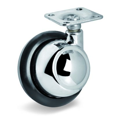 Rubber Half-Ball Wheel, Top Plate Castor, Left Hand Swivel