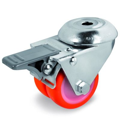 Injection Polyurethane Tyre Bonded to Nylon Centre, Twin Wheel Bolt Hole Castor with Brake