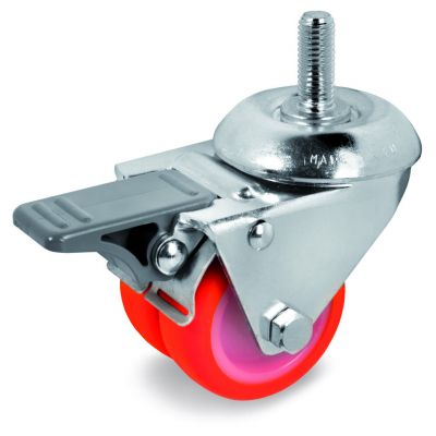 Injection Polyurethane Tyre Bonded to Nylon Centre, Twin Wheel Bolt Hole Castor with Threaded Stem & Brake