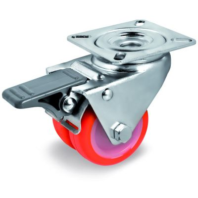 Injection Polyurethane Tyre Bonded to Nylon Centre, Twin Wheel Swivel Top Plate Castor with Brake