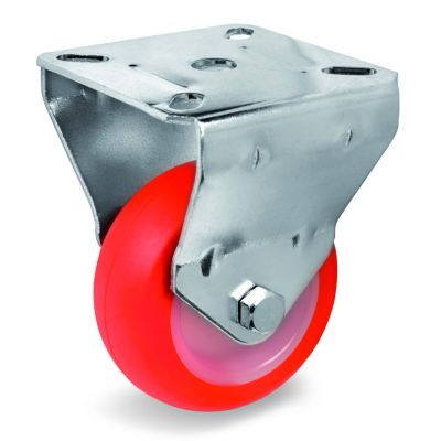 Injection Polyurethane Tyre Bonded to Nylon Centre, Fixed Top Plate Castor