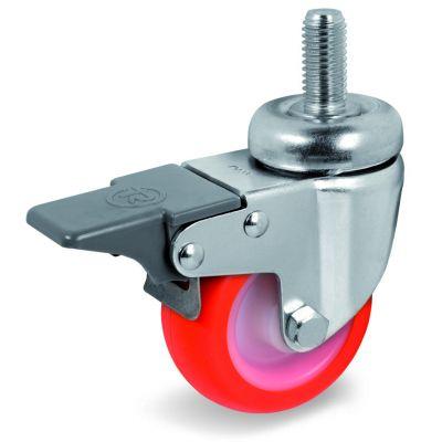 Injection Polyurethane Tyre Bonded to Nylon Centre, Bolt Hole Castor with Brake & Threaded Stem