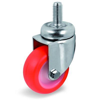 Injection Polyurethane Tyre Bonded to Nylon Centre, Bolt Hole Castor with Threaded Stem