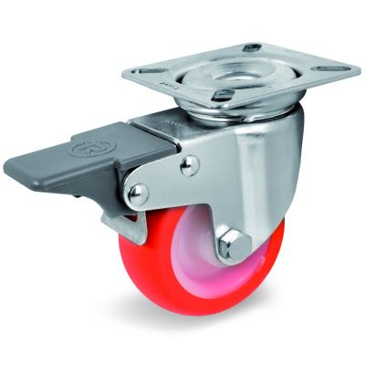Injection Polyurethane Tyre Bonded to Nylon Centre, Swivel Top Plate Castor with Brake