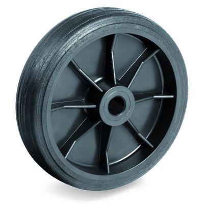 Black Rubber Tyre with Black Plastic Centre, Wheel, Plain Bore