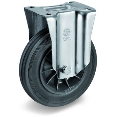 Black Rubber Tyre with Black Plastic Centre, Fixed Top Plate Castor, NL Duty