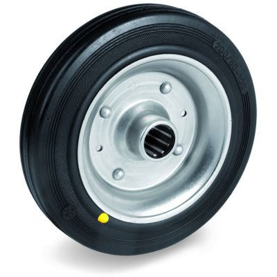 Black Rubber Tyre with Steel Centre, Wheel, Roller Bearing