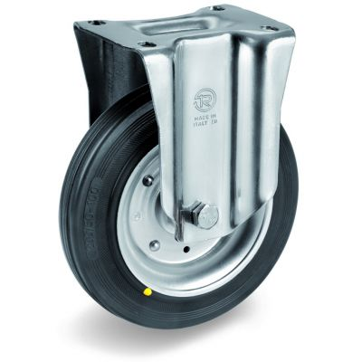 Black Rubber Tyre with Steel Centre, Fixed Top Plate Castor, NL Duty