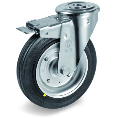 Black Rubber Tyre with Steel Centre, Bolt Hole Castor with Brake, NL Duty