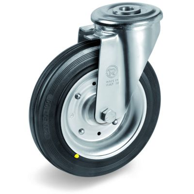 Black Rubber Tyre with Steel Centre, Bolt Hole Castor, NL Duty