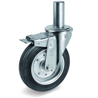 Black Rubber Tyre with Steel Centre, Bolt Hole Castor with Brake and Solid Stem, NL Duty