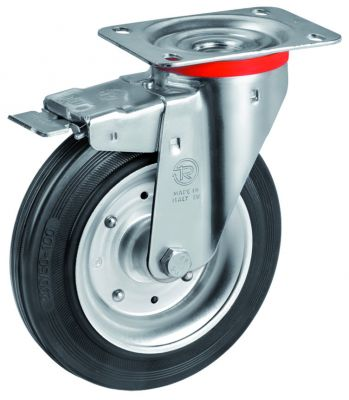 Black Rubber Tyre with Steel Centre, Swivel Top Plate Castor with Brake, NL Duty