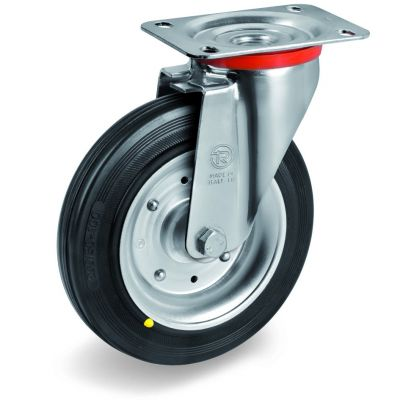Black Rubber Tyre with Steel Centre, Swivel Top Plate Castor, NL Duty
