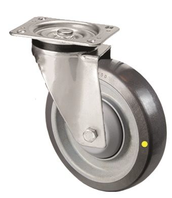 Grey Conductive Polyurethane Tyre with Plastic Centre, Stainless Steel Swivel Top Plate Castor