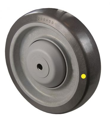 Grey Conductive Polyurethane Tyre with Plastic Centre, Wheel, Ball Bearing