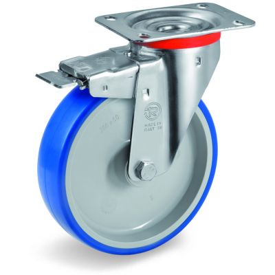 Soft Polyurethane Tyre Bonded to Grey Nylon Centre, Swivel Top Plate Castor with Brake, NL Duty