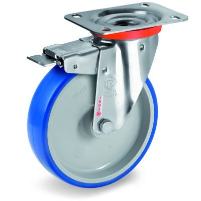 Soft Polyurethane Tyre Bonded to Grey Nylon Centre, Stainless Steel Swivel Top Plate Castor with Brake, NLX Duty