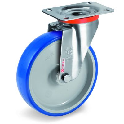 Soft Polyurethane Tyre Bonded to Grey Nylon Centre, Stainless Steel Swivel Top Plate Castor, NLX Duty