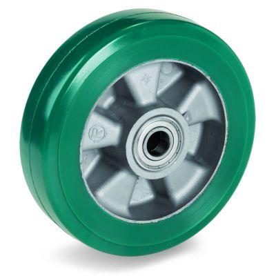Green Elastic Polyurethane Tyre Bonded to Aluminium Centre, Wheel, Ball Bearing Facility